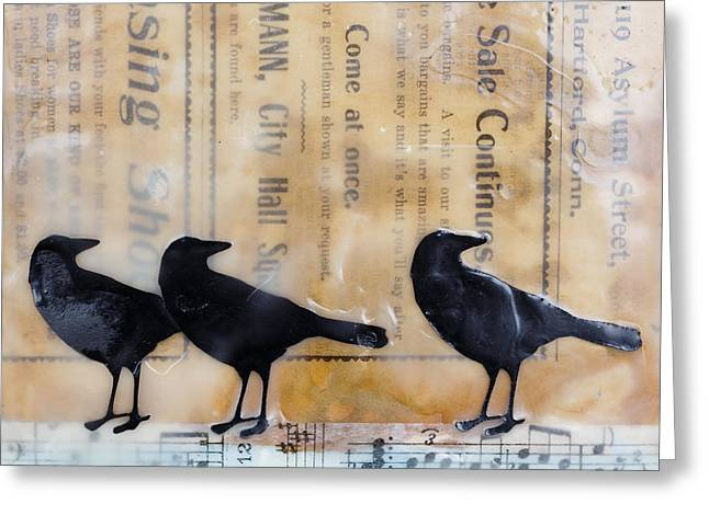 Crows Encaustic Mixed Media Greeting Card by Edward Fielding