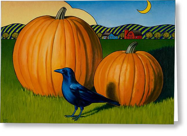 Pumpkin Greeting Cards - Crows Harvest Greeting Card by Stacey Neumiller