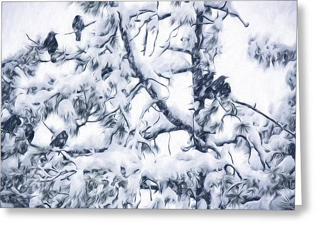 Crows In Snow Greeting Card by Becky Titus