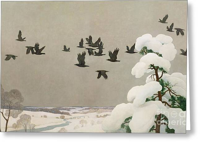 Crows In Winter Greeting Card by Newell Convers Wyeth