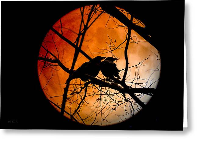 Crows Moon Greeting Card by Bob Orsillo