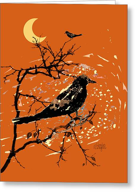 Hallows Eve Greeting Cards - Crows On All Hallows Eve Greeting Card by Arline Wagner
