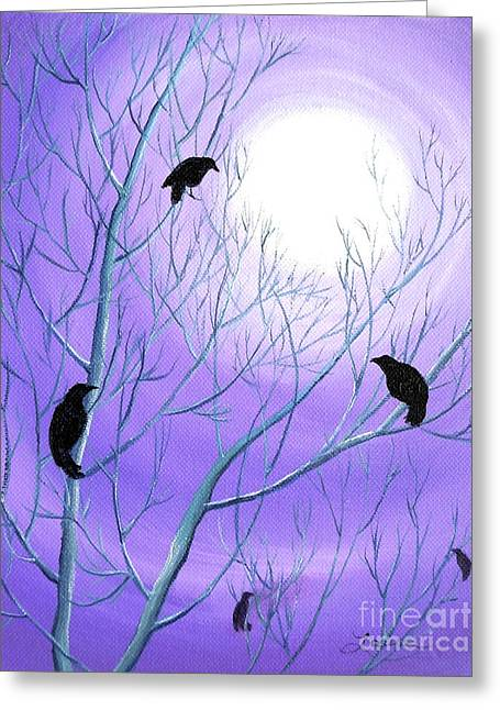 Bare Trees Greeting Cards - Crows on Empty Branches Greeting Card by Laura Iverson