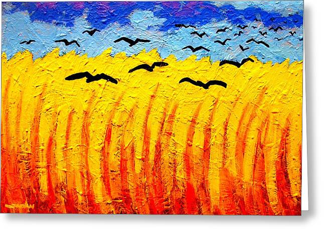 Vincent Paintings Greeting Cards - Crows Over Vincents Field Greeting Card by John  Nolan
