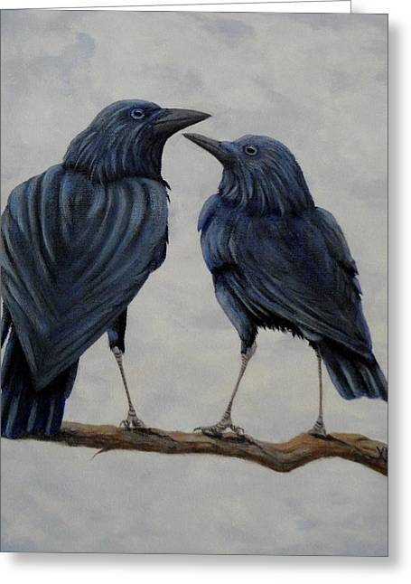 Crows Greeting Card by Xochi Hughes Madera