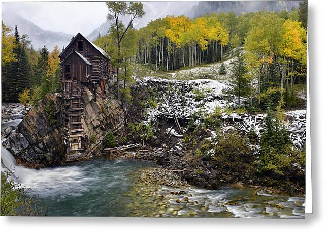 Mountain Road Greeting Cards - Crstal Mill and Fall Aspens Greeting Card by Dean Hueber