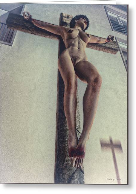 The Wooden Cross Greeting Cards - Crucified in the Street Greeting Card by Ramon Martinez