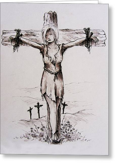 Crucified With Christ Greeting Card by Rachel Christine Nowicki