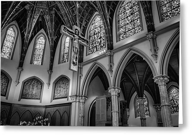 Gothic Crucifix Greeting Cards - Crucifix at Holy Name Cathedral Greeting Card by Mike Burgquist
