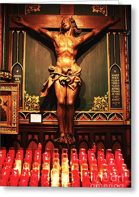 Quebec Province Greeting Cards - Crucifix at Notre Dame Greeting Card by John Rizzuto