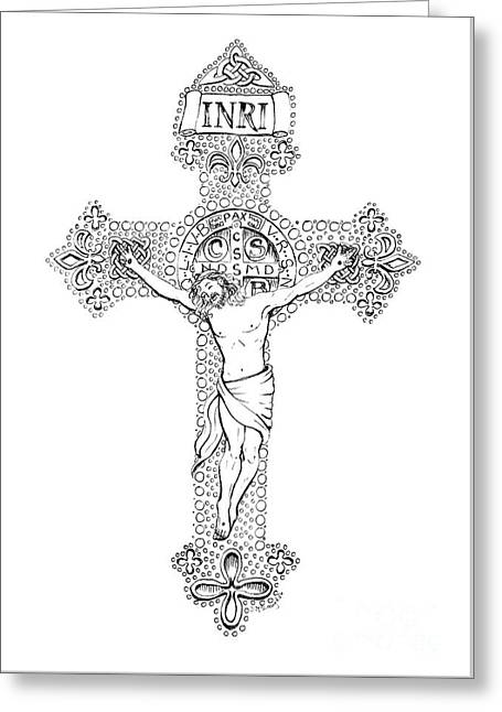 Crucifix Greeting Card by Jenny McLaughlin
