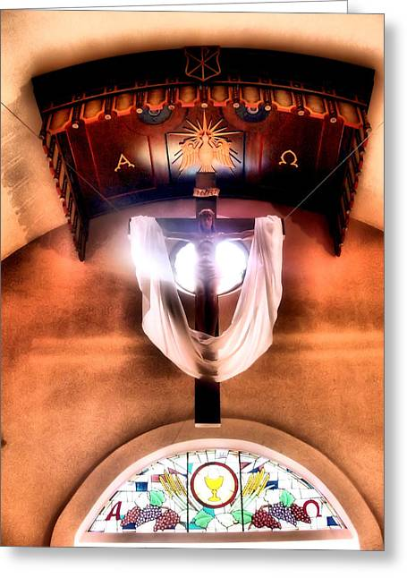 Alpha And Omega Greeting Cards - Crucifix Greeting Card by Jimmy Ostgard