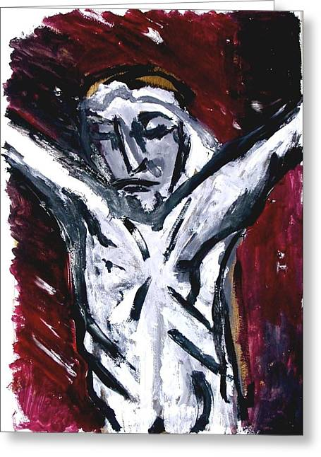 Religious Paintings Greeting Cards - Crucifixion Greeting Card by Amy Adams