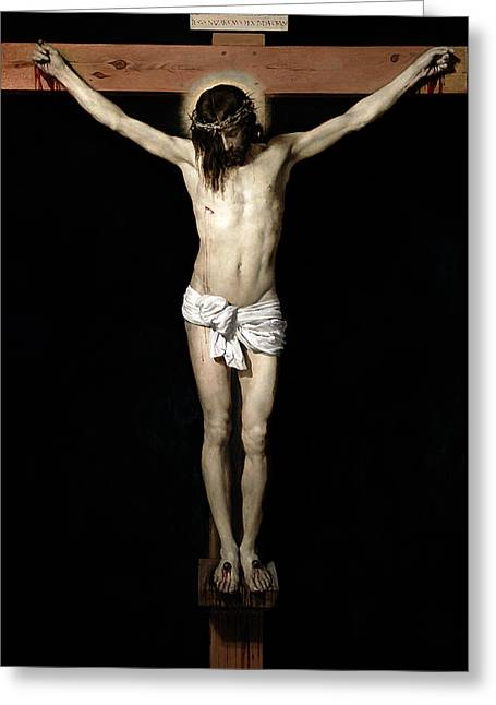 Crucifix Mixed Media Greeting Cards - Crucifixion Greeting Card by Diego Velazquez