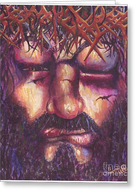 Sacrificial Paintings Greeting Cards - Crucifixion. Master Fully Done Greeting Card by Jean-Marie Poisson