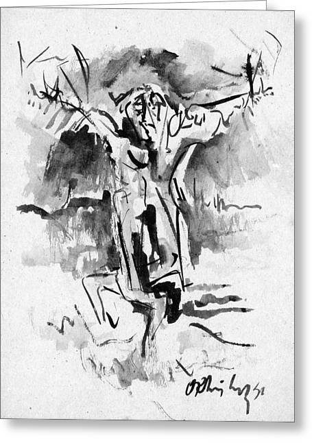 Abstract Expressionist Greeting Cards - Crucifixion Greeting Card by Orhan Ilyas