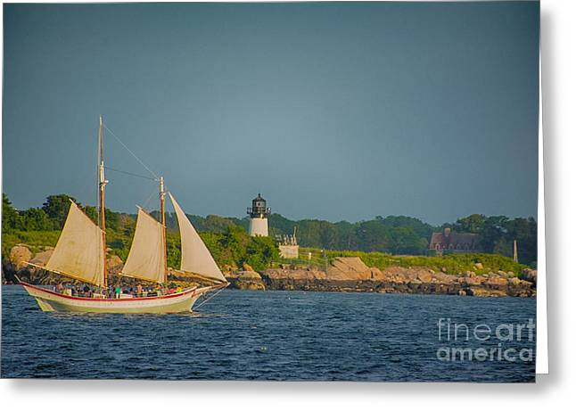 Masts Greeting Cards - Cruise at Sunset Greeting Card by Ruth H Curtis