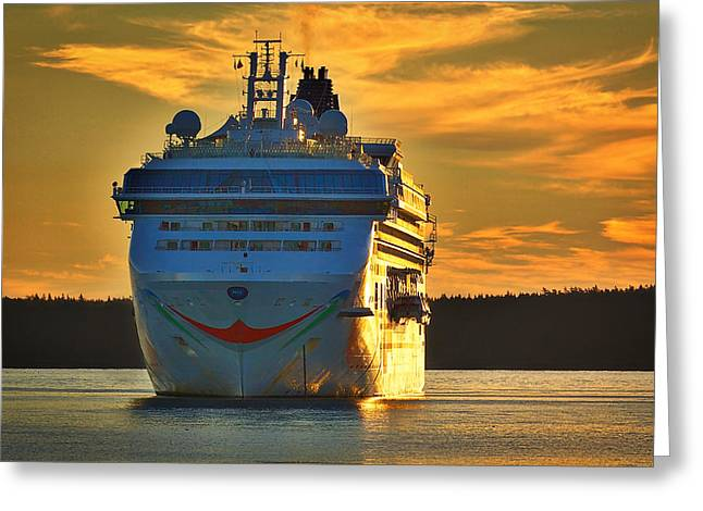 Tall Ships Greeting Cards - Cruise Ship at Dawn Greeting Card by Stuart Litoff