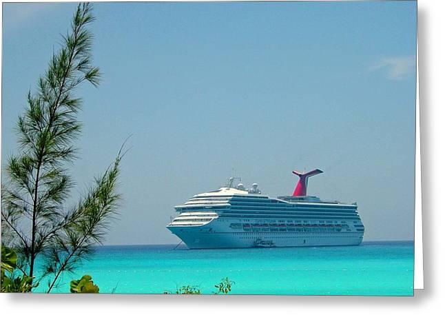 Cruise Ship At Half Moon Cay Greeting Card by Gary Wonning