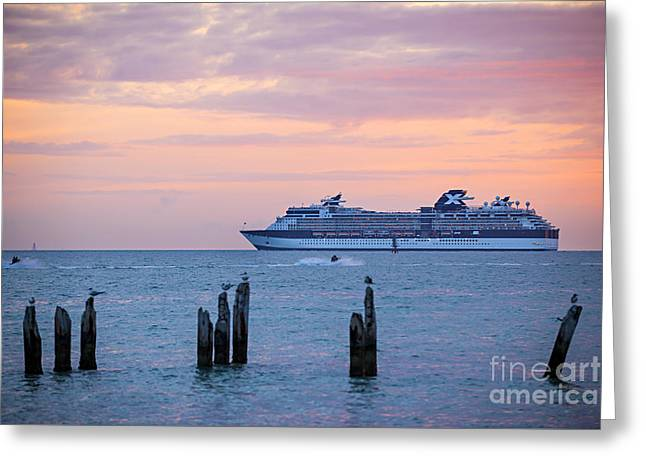 Cruise Ship At Key West Greeting Card by Elena Elisseeva