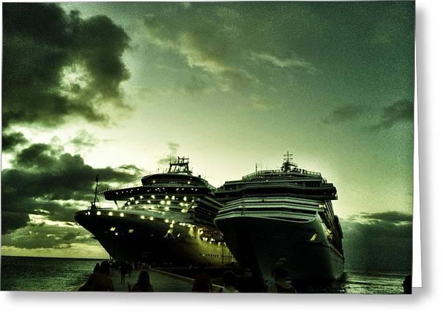 Boat Cruise Greeting Cards - Cruise ships at Night Greeting Card by Kat J