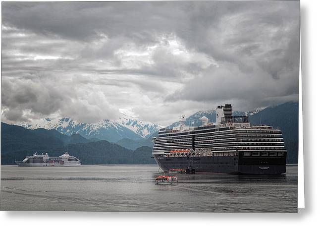 Foggy Ocean Greeting Cards - Cruise Ships In Port - Sitka Alaska 2 Greeting Card by Sharon Norman
