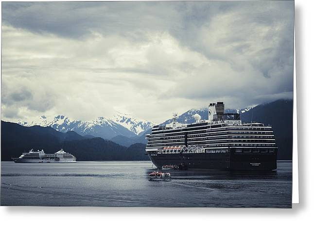 Foggy Ocean Greeting Cards - Cruise Ships In Port - Sitka Alaska Greeting Card by Sharon Norman