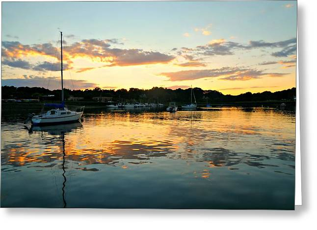 Sailboats In Harbor Greeting Cards - Cruise to Nowhere Greeting Card by Diana Angstadt