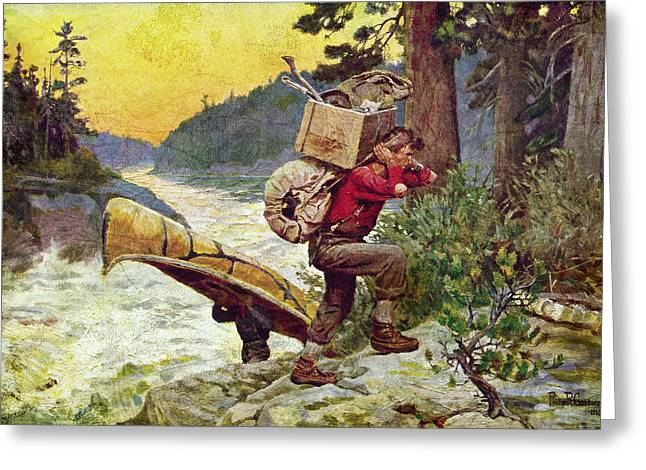 Voyageurs Paintings Greeting Cards - Cruisers Making A Portage Greeting Card by JQ Licensing