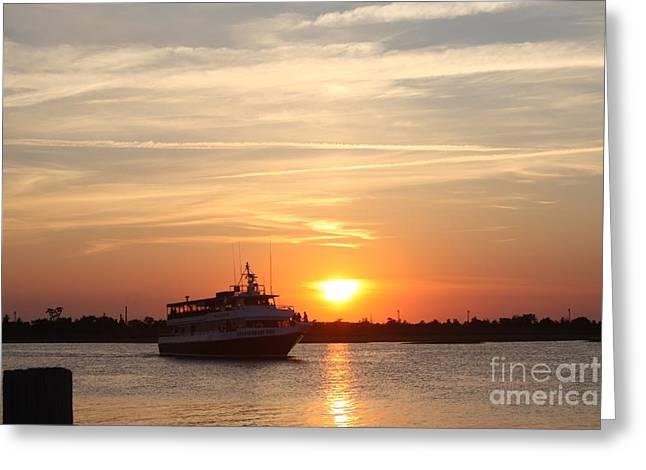 Cruising At Sunset Greeting Card by John Telfer