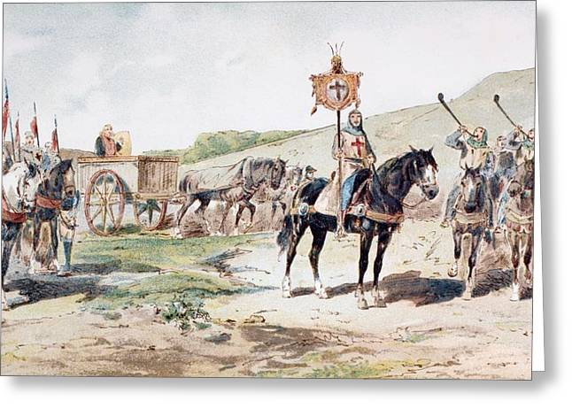 Wagon Wheels Drawings Greeting Cards - Crusaders On The March In The 11th Greeting Card by Ken Welsh