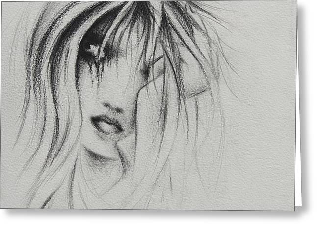 Tear Drawings Greeting Cards - Cry Baby Greeting Card by Rachel Christine Nowicki