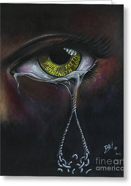 Rope Pastels Greeting Cards - Cry No More Greeting Card by Bobby Wheeler