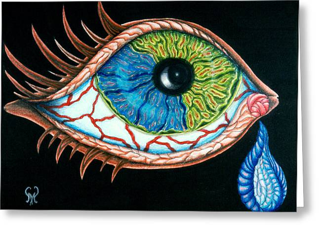 Split Drawings Greeting Cards - Crying Eye Greeting Card by Karen Musick