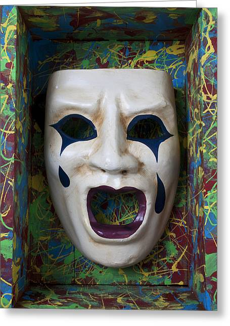 Disguise Greeting Cards - Crying mask in box Greeting Card by Garry Gay