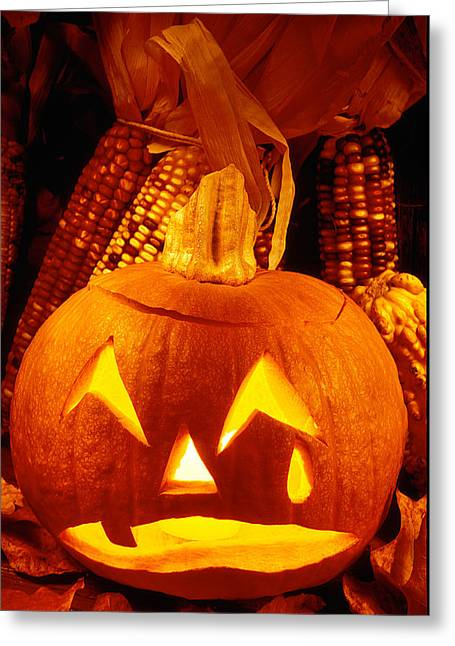 Ornamentation Greeting Cards - Crying Pumpkin Greeting Card by Garry Gay