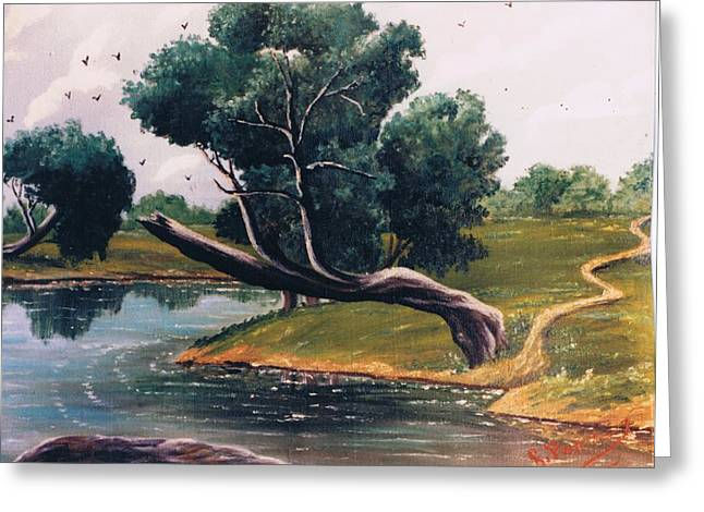 Wildife Paintings Greeting Cards - Crying Tree SOLD Greeting Card by Florentina Popa