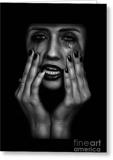 Distraught Greeting Cards - Crying Woman Greeting Card by Aleksey Tugolukov
