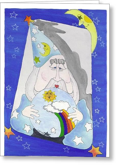 Wizard Drawings Greeting Cards - Crystal Ball Greeting Card by Lynnda Rakos