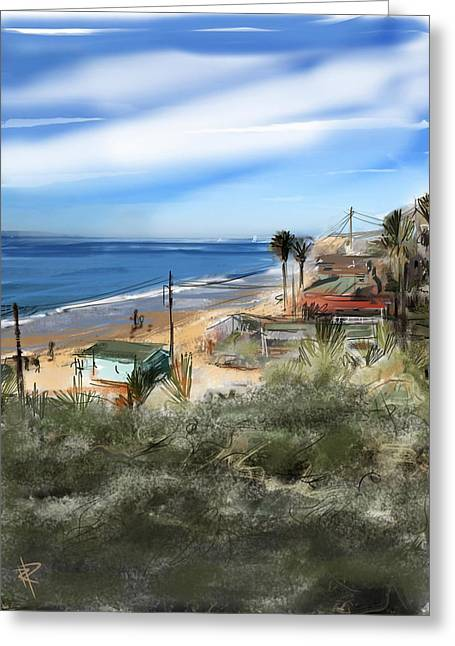 Ocean Landscape Mixed Media Greeting Cards - Crystal Cove Greeting Card by Russell Pierce