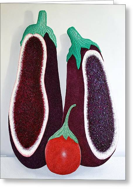Homes Glass Greeting Cards - Amethyst Eggplants Greeting Card by Jose Masis-Oliver