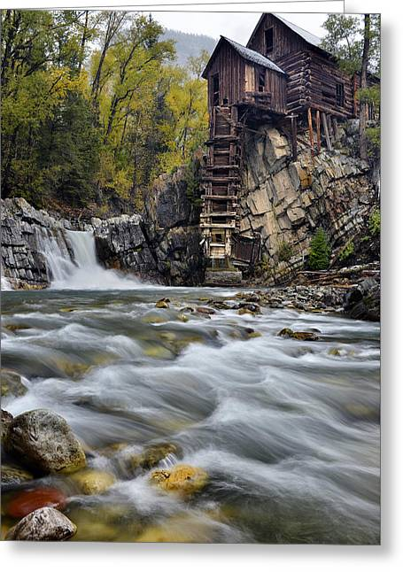 Mountain Road Greeting Cards - Crystal Mill and Cascading River Greeting Card by Dean Hueber