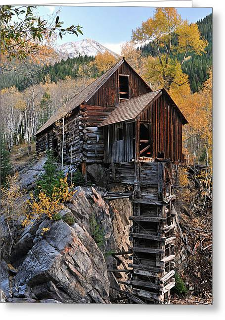 Mountain Road Greeting Cards - Crystal Mill and Fall Color Greeting Card by Dean Hueber