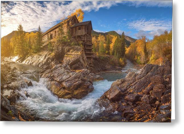Crystal Mill Fall Sunrise Greeting Card by Darren White