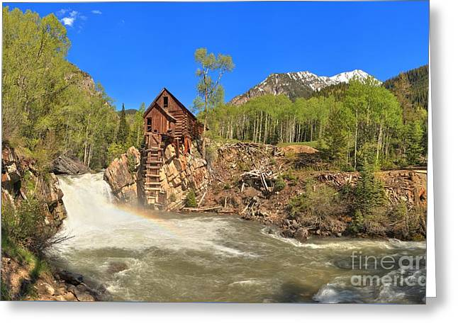 Crystal Mill Greeting Cards - Crystal Mill Panorama Greeting Card by Adam Jewell