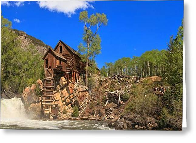 Crystal Mill Greeting Cards - Crystal Mill Panoramic View Greeting Card by Adam Jewell
