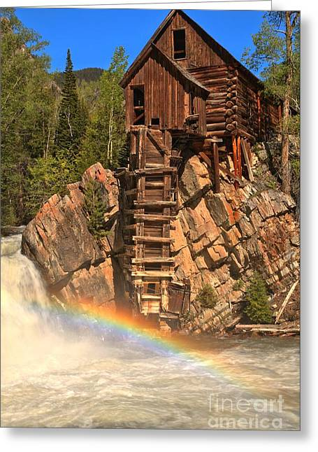 Crystal Mill Greeting Cards - Crystal Mill Rainbow Greeting Card by Adam Jewell