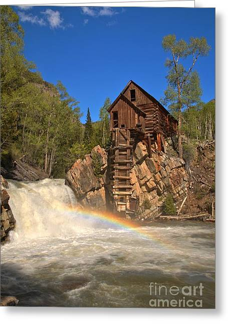 Crystal Mill Greeting Cards - Crystal Mill Rainbow Portrait Greeting Card by Adam Jewell