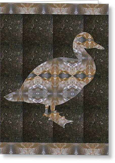 Ducklings Mixed Media Greeting Cards - Crystal Stone Duck n Border Bird Greeting Card by Navin Joshi