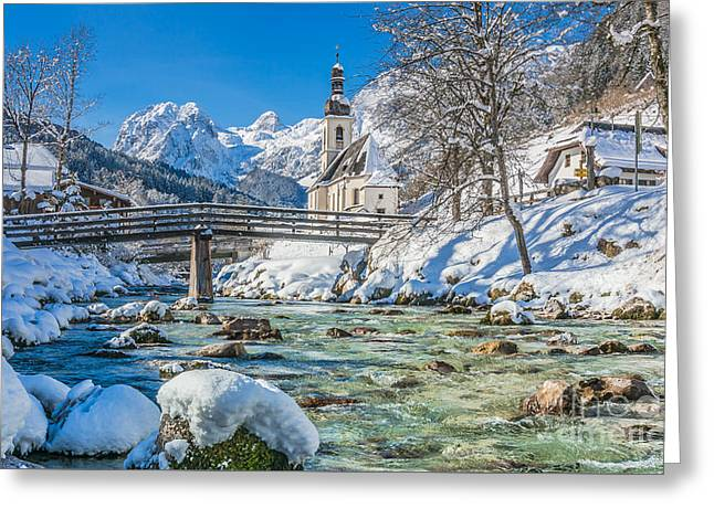 Swiss Photographs Greeting Cards - Crystalclear mountain river near dreamy church in winter Greeting Card by JR Photography